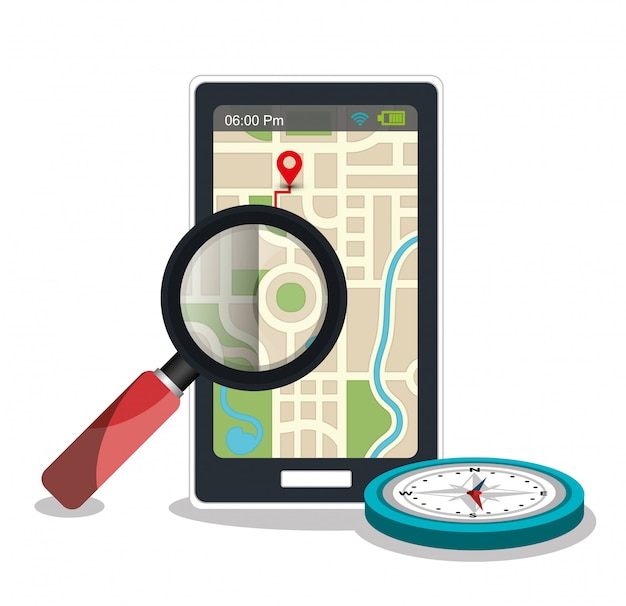 Gps app with compass and magnifying glass Free Vector