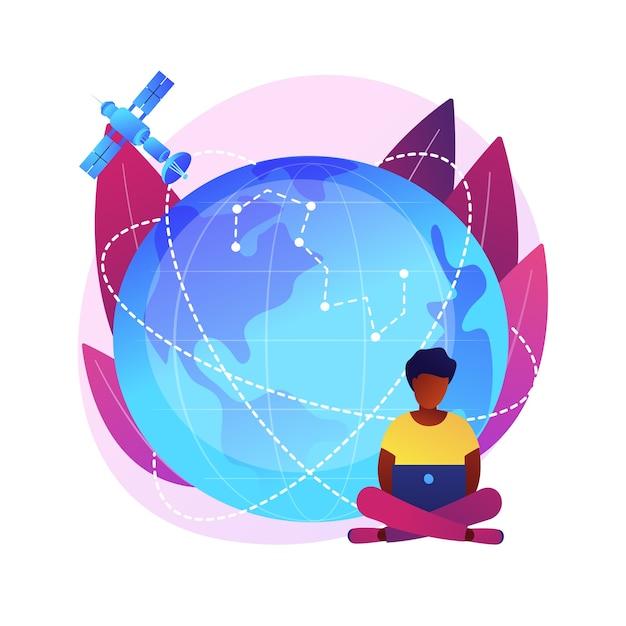 Area di copertura gps. osservazione della terra. idea per comunicazioni spaziali, navigazione satellitare orbitante, tecnologie moderne. spazio esterno, cosmo, universo. illustrazione della metafora del concetto isolato Vettore gratuito