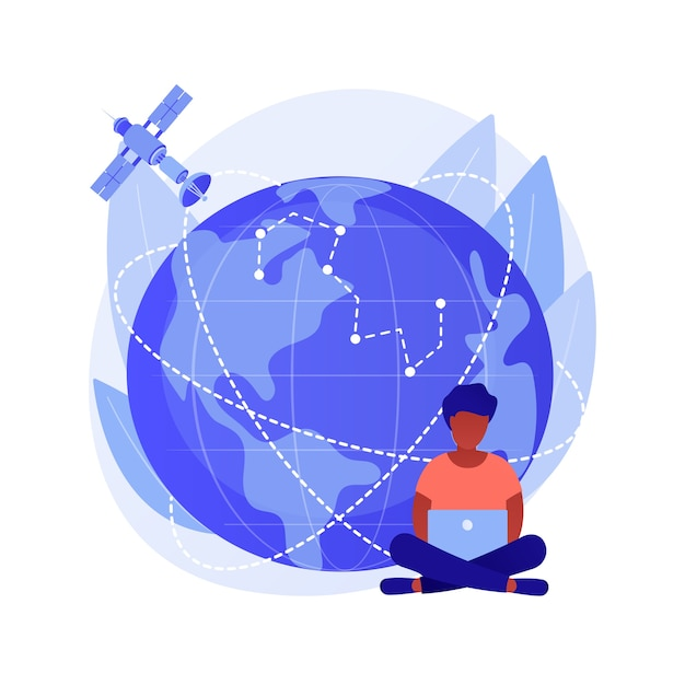 Gps coverage area. earth observation. space communications idea, orbiting satellite navigation, modern technologies. outer space, cosmos, universe. vector isolated concept metaphor illustration Free Vector