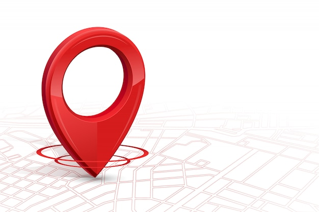 Gps.gps icon 3d red color  dropping on street map in whitebackground Premium Vector