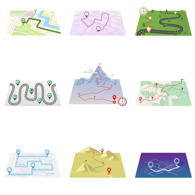 Gps icons and route map set  on white background Premium Vector