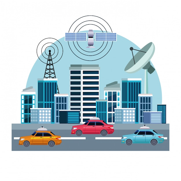 Gps location car service Free Vector