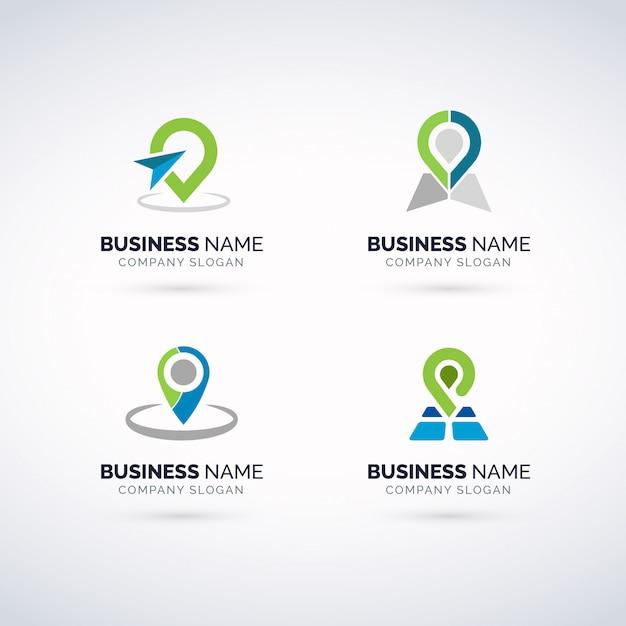 Gps logo set Premium векторы