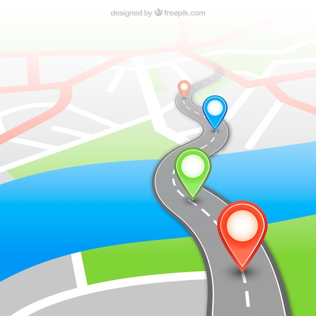 Gps map with pins Vector | Free Download