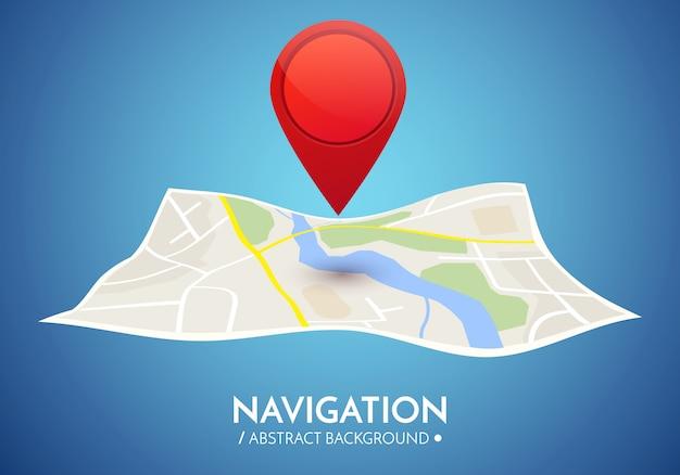 Gps навигация фон. дорожная карта, изолированные на белом с указателем. Premium векторы