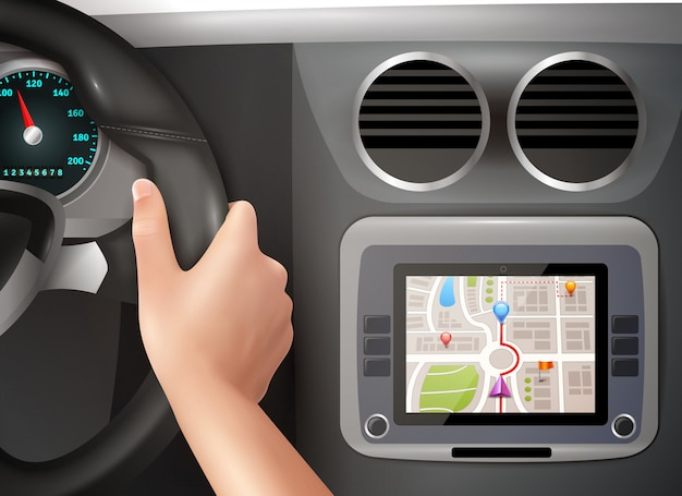 Gps navigation in car Free Vector