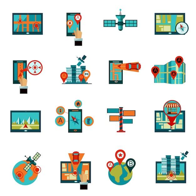 Gps navigation icons set Free Vector