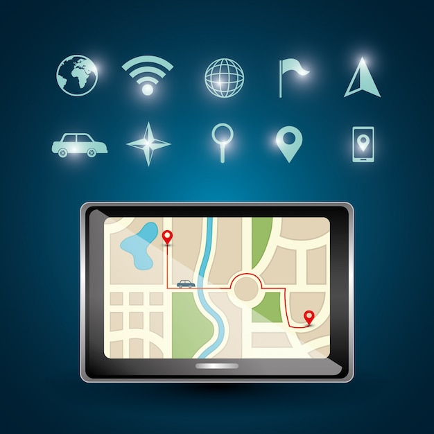 Gps navigation illustration Free Vector
