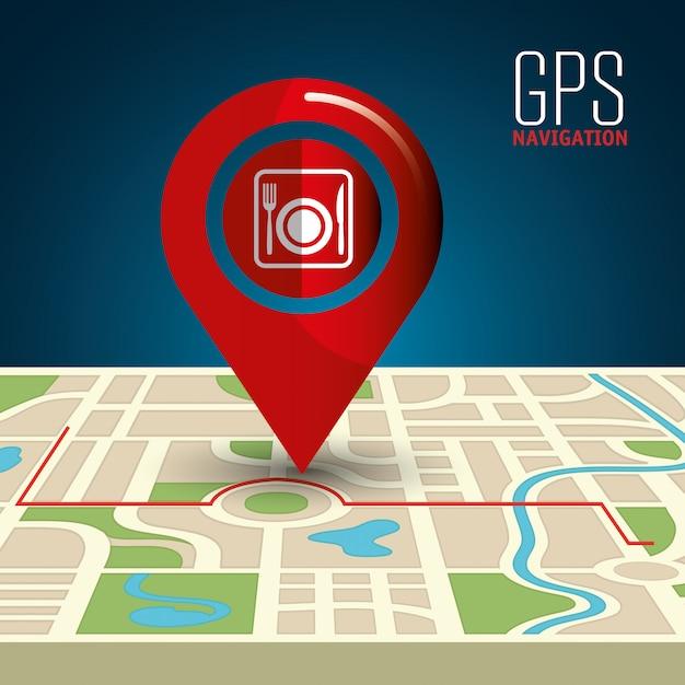 Gps navigation illustration Free Vector