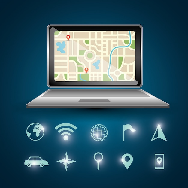 Gps navigation laptop Free Vector