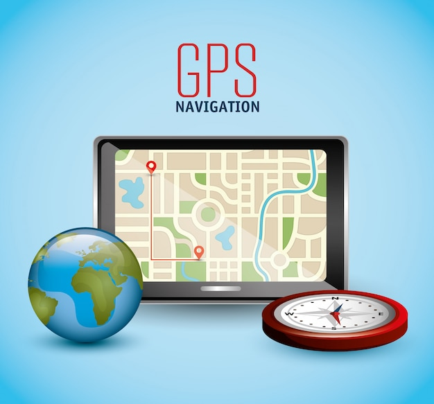 Gps navigation machine with globe and compass Free Vector