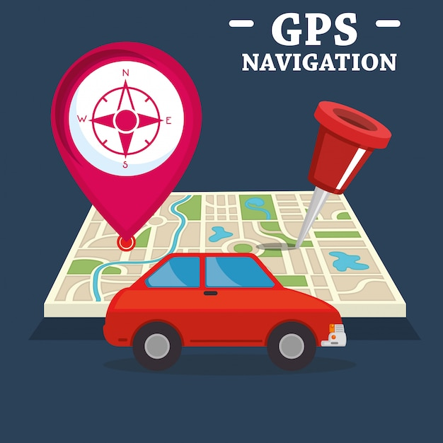 Gps navigation set icons Free Vector