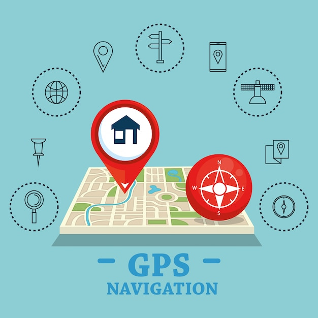 Gps navigation set icons Free Vector