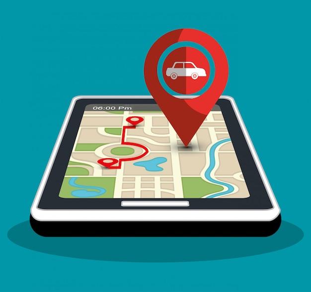 Gps navigation technology Premium Vector