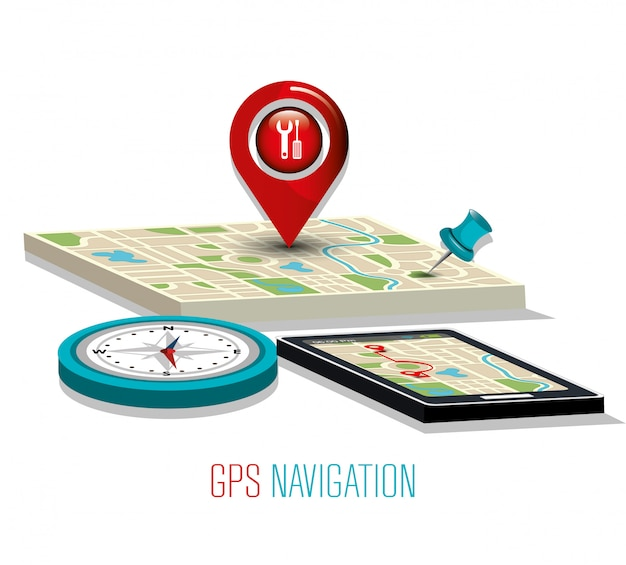 Gps navigation technology Premium Vector