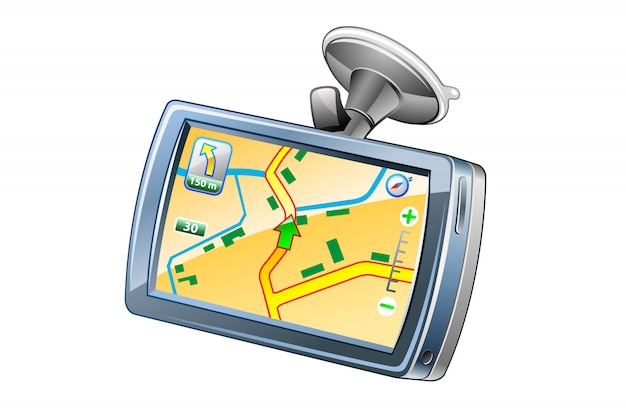 Gps navigator  icon illustration Premium Vector