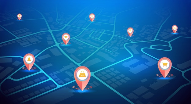 Gps pins with sign icons showing on city map blue color Premium Vector