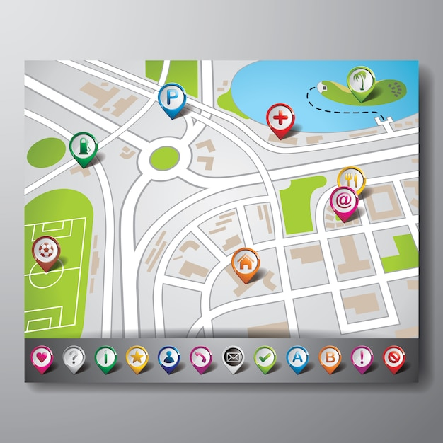 Gps screen background Free Vector