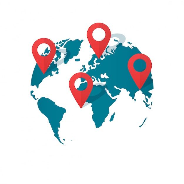 世界地図の場所ピンベクトルまたはグローバルgps交通ジオポインターフラット漫画 Premiumベクター