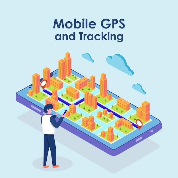 Изометрическая карта gps-навигация, приложение для карты смартфона и красная точка на экране Premium векторы