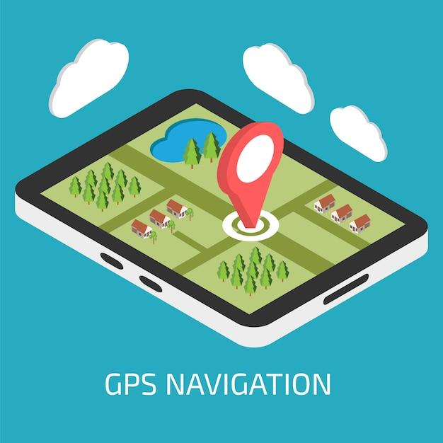 タブレットまたはスマートフォンを使用したgpsモバイルナビゲーション Premiumベクター