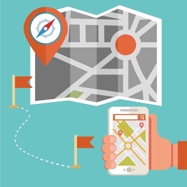 Карта маршрутов и устройство системы gps-навигации Premium векторы