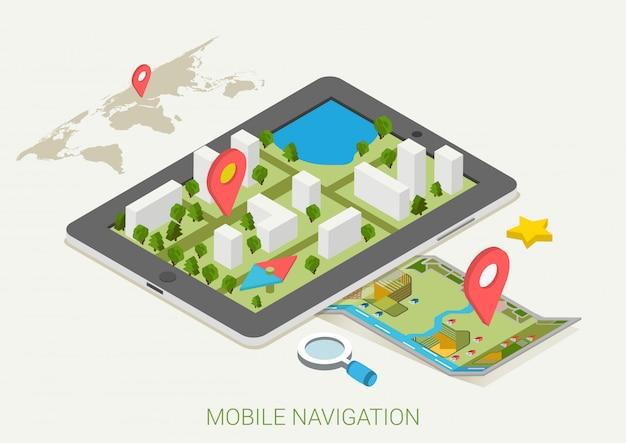 モバイルgpsナビゲーションは等角投影図をマップします。 Premiumベクター