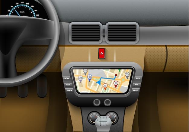 Реалистичный интерьер автомобиля с системой автоматической навигации и картой gps Бесплатные векторы
