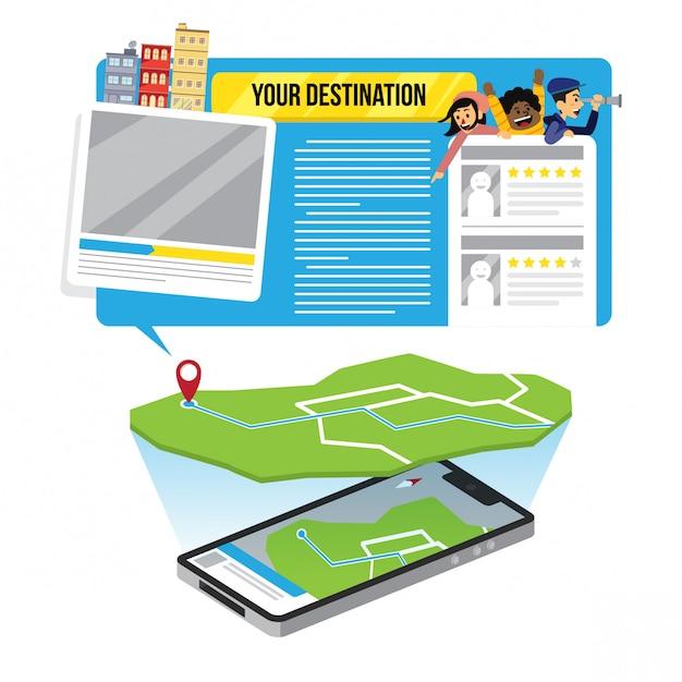 Gps地図イラストインフォグラフィックデザインテンプレート Premiumベクター