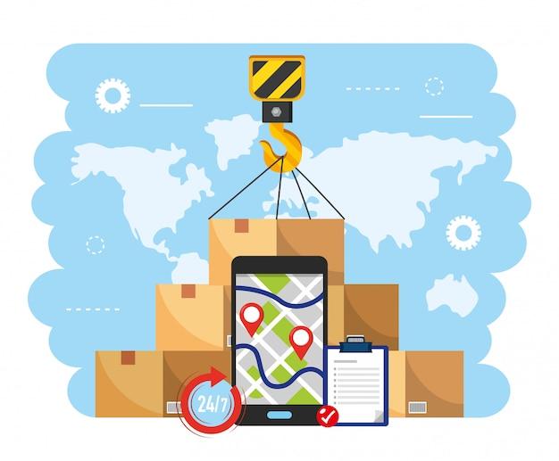 ボックスパッケージとスマートフォンのgpsマップ付きクレーンフック Premiumベクター