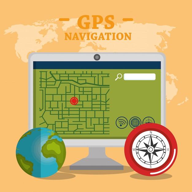 Настольный компьютер с gps навигационным программным обеспечением Бесплатные векторы