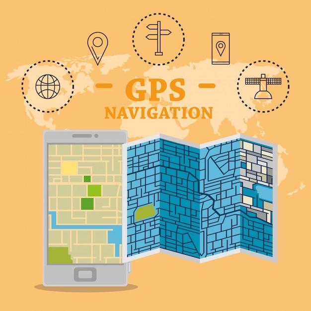 Gpsナビゲーションアプリ付きスマートフォン 無料ベクター