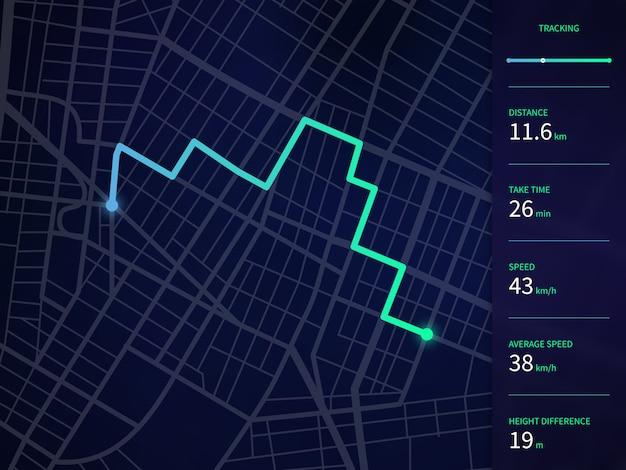 Gpsナビゲーションとトラッカーアプリのためのルートとデータインターフェースを持つベクトル市内地図 Premiumベクター