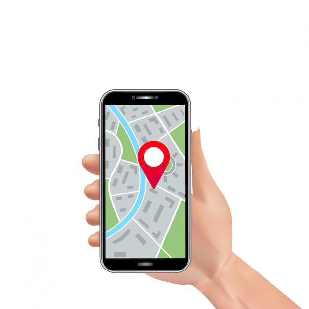 都市地図ナビゲーションとgpsロケーションピンマーカーとスマートフォンを持っている現実的な男の手 Premiumベクター