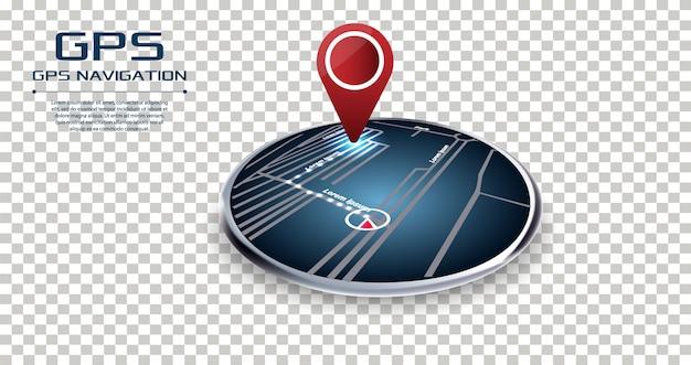 Gpsナビゲーターピンチェックポイントツーポイントレッドカラー Premiumベクター