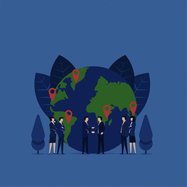 Рукопожатие бизнес для расширения бизнеса франшизы с значок глобуса и gps. Premium векторы