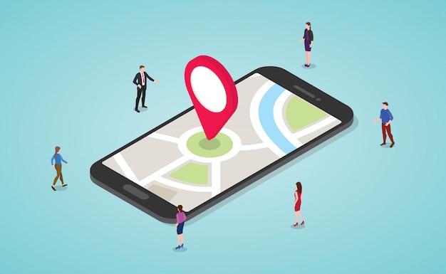 人とスマートフォンと地図と現代の等尺性フラットスタイルのマーカーとgpsナビゲーションコンセプト Premiumベクター