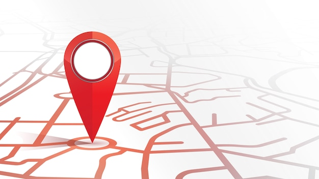 Один значок булавки gps красного цвета макет из карты улиц на белом фоне Premium векторы