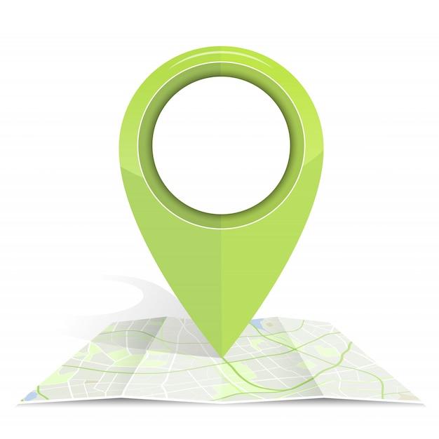 Gpsアイコンは、地図用紙に緑色をモックアップします。 Premiumベクター
