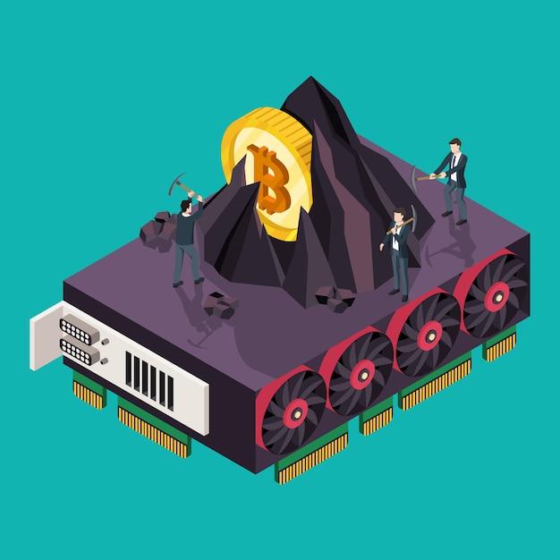 Gpu mining bitcoin concept. isometric  illustration Premium Vector