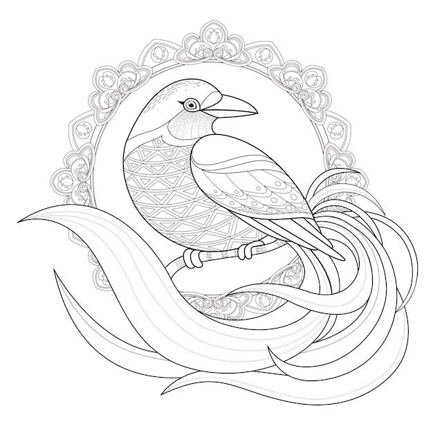 絶妙なスタイルの優雅な鳥の着色ページ Premiumベクター