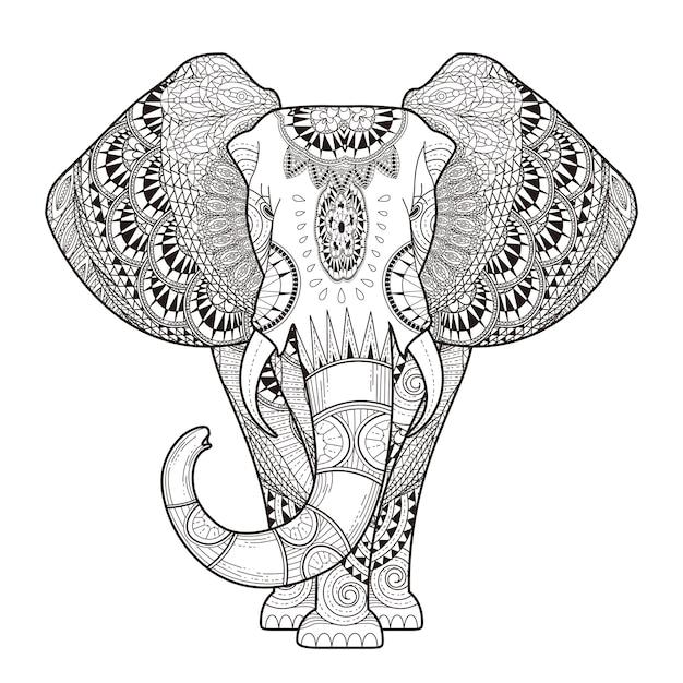 絶妙なスタイルの優雅な象の着色ページ Premiumベクター