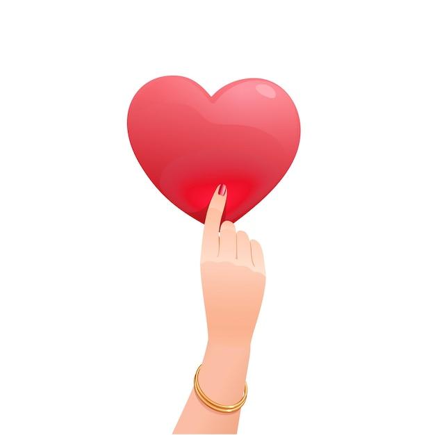 Изящная женская рука держит вертикально сердце валентина. красный романтический символ любви. изолированные объекты на белом фоне. Premium векторы