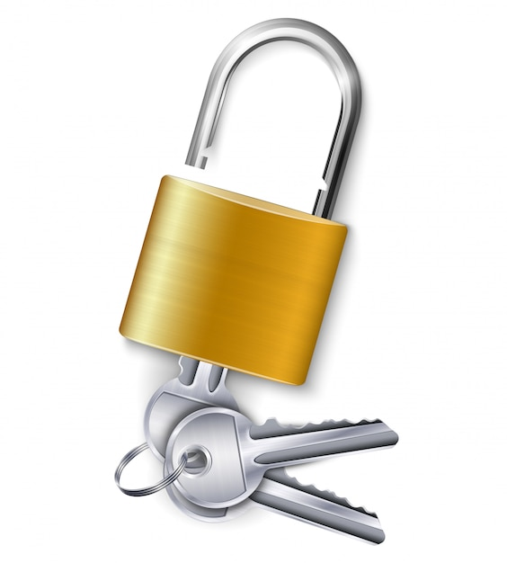 Graceful gold metallic padlock with kit of three keys on white  realistic Free Vector