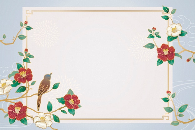 Graceful lunar year background with bird and camellia decorations Premium Vector