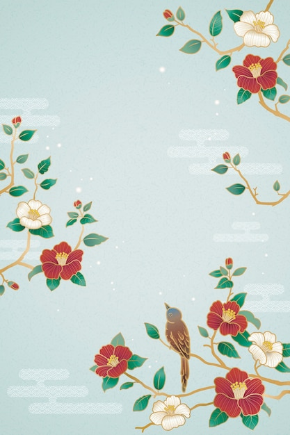 Graceful lunar year poster with bird and camellia decorations on blue background Premium Vector