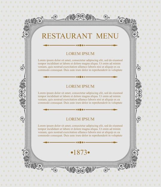 優雅なレストランメニュー活版印刷のデザイン要素、書道の優雅なテンプレート、 Premiumベクター