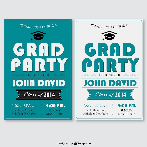 Grad party poster set Free Vector