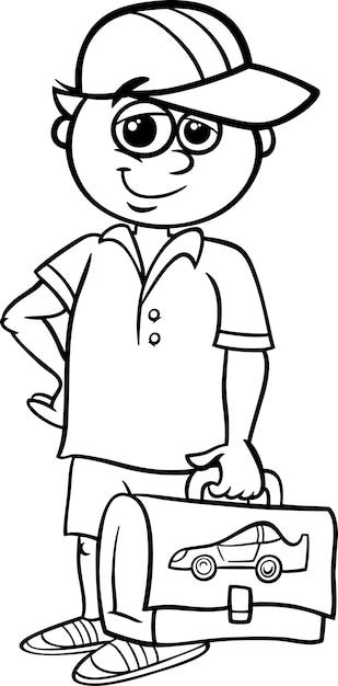 grade school student coloring book vector