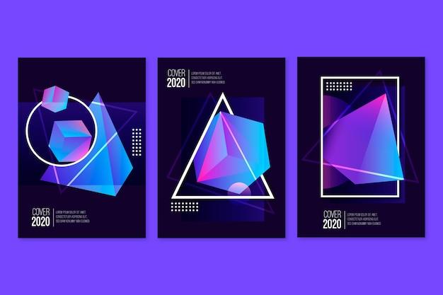 Градиент 3d геометрические кубики в темном фоне Бесплатные векторы